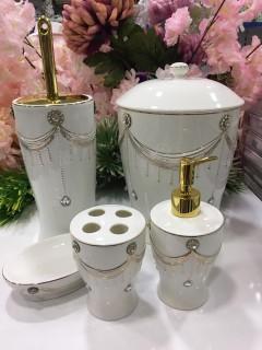 Arow Porselen Taşlı 5 Parça Banyo Seti