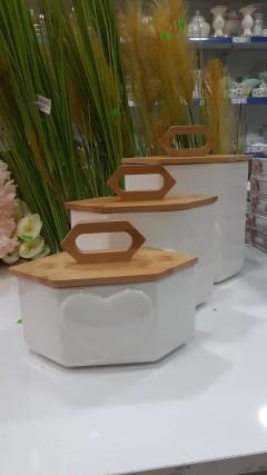 Arow Bambu Kapaklı Porselen Kavanoz- Küçük