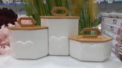 Arow  Bambu Kapaklı Porselen Kavanoz - Orta