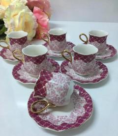 ACAR Damask Collection Kahve Fincanı - Fuşya resmi