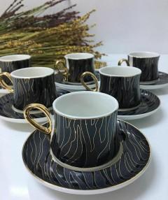ACAR Gold Detaylı Desenli Kahve Fincanı