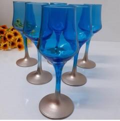 Sigma Glass 95514 Bakır Ayaklı Mavi Kahve Yanı Bardağı resmi