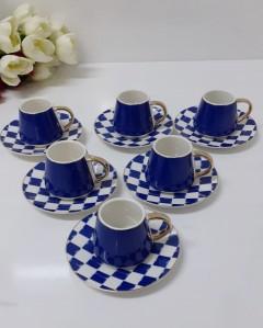 Arow 12 Parça Mavi Dama Desen Kahve Fincanı resmi