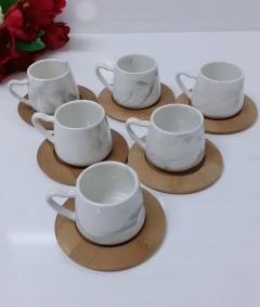 Arow 12 Parça Bambu Tabaklı Marmo Kahve Takımı resmi