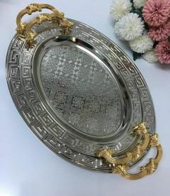 Dalgıç 2'li Gold Kulplu Gümüş Oval Tepsi  resmi