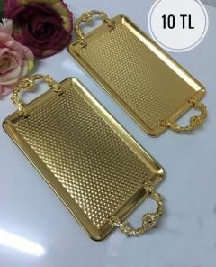 18*29 Cm Plastik Kulplu Gold Sunum Tepsisi resmi