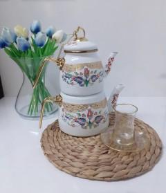 Bondy Çini Desenli Emaye Çaydanlık