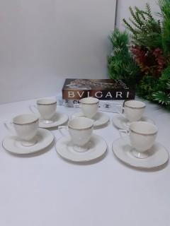 Tekbir Porselen Gold Detaylı 12 Parça Beyaz Kahve Fincanı Set