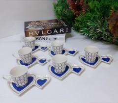 Tekbir Porselen İkramlıklı 12 Parça Kahve Fincanı Set  resmi