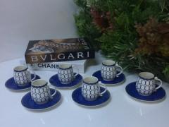 Tekbir Porselen Mavi Desenli 12 Parça Kahve Fincanı Set  resmi