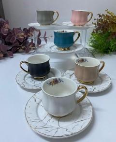 ACAR 12 Parça Mat Porselen Kahve Fincanı Set  resmi