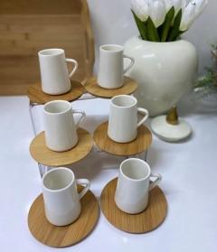 Gönül Bambu Tabaklı 12 Parça Porselen Kahve Fincanı Set