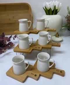 ACAR Bambu Tabaklı 12 Parça Porselen Kahve Fincanı Set resmi