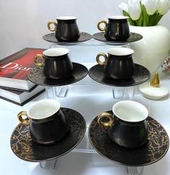 Arow Mat Dokulu 12 Parça Kahve Fincanı  Set - Siyah