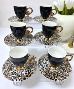 ACAR Leopar Tabaklı 12 Parça Kahve Fincanı Set - Siyah resmi