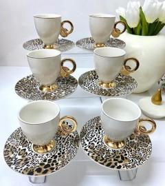 ACAR Leopar Tabaklı 12 Parça Kahve Fincanı Set - Beyaz resmi