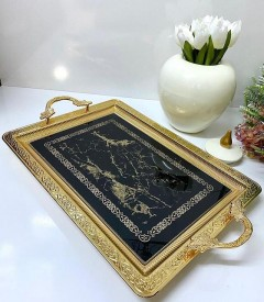 Dalgıç Mermer Desen Dikdörtgen Gold Tepsi