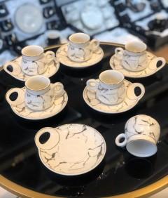 Furkan 12 Parça Desenli Beyaz Kahve Fincanı resmi
