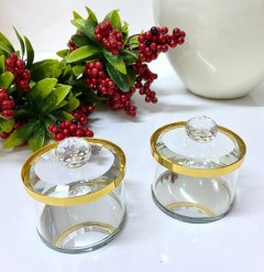 Kristal Kapaklı Gold&Gümüş Detaylı Lokumluk resmi