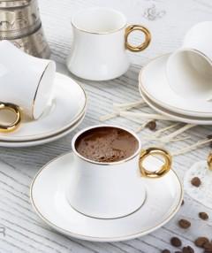 ACAR Gold Detaylı Beyaz 12 Parça Kahve Fincan Takımı