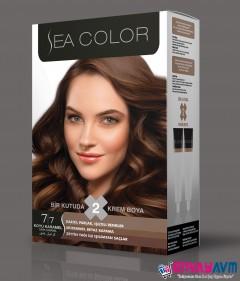Sea Color Koyu Karamel Saç Boyası 7.7 resmi
