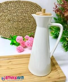 Arow Bambu Kapaklı Porselen Kulplu Yağlık, Sirkelik