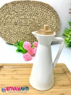 Arow Bambu Kapaklı Porselen Kulplu Yağlık, Sirkelik 500ml resmi