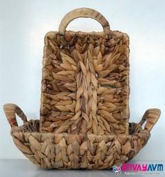 Paçi Hasır Örgülü Kulplu Dikdörtgen Ekmek Sepeti resmi