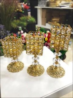 FRK 3 lü Kare Şamdan - Gold - Gümüş - Bakır resmi