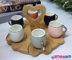 Yakut Bambu Standlı Kahve Fincan Takımı 8924 resmi