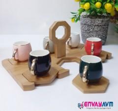 Yakut Bambu Standlı Kahve Fincan Takımı 8920