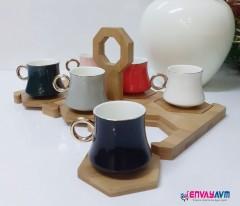 Yakut Bambu Standlı Kahve Fincan Takımı 8919 resmi
