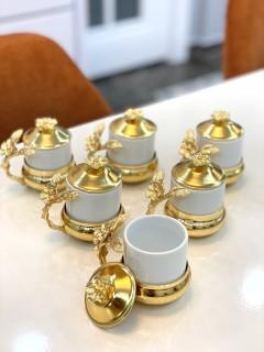 GOLD FERFORJE JAPON GÜLÜ TEKLİ FİNCAN resmi