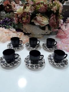 Keramika 6'lı Mat Kahve Takımı - Mor resmi
