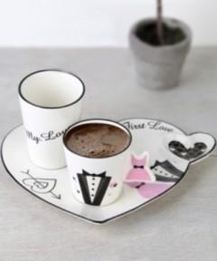 ACAR 2'li 3 Parça Damat Kahvesi Fincan Seti resmi