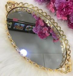 34x24Cm Taşlı, Kulplu Oval Aynalı Tepsi Gold