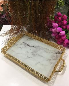 36x27cm Gold Mermer Desenli Kulplu Tepsi - Beyaz