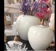 Dekoratif Küçük Boy Vazo - Beyaz resmi