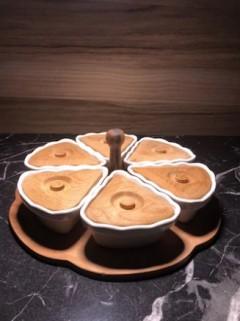 ECR 6'lı Ahşap Standlı-Kapaklı, Porselen Kahvaltılık resmi