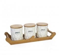 Acar Bambu Standlı 3'lü Porselen Baharat Takımı / PORJ-00886