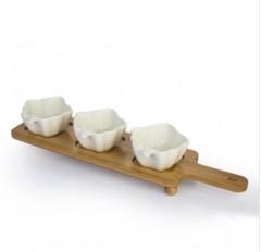 Acar Bambu Standlı 3'lü Porselen Yaprak Şeklinde Çerezlik, Kahvaltılık resmi