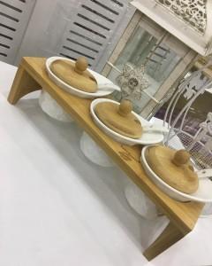 Bambum Bambu Standlı 3'lü Porselen Baharat Seti resmi
