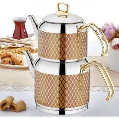 Sıla 564 No:1 Hüma Dekorlu Gold Çaydanlık resmi