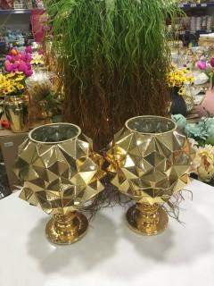 Elenor Ayaklı Gold Cam Vazo resmi