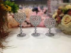 GÜR 3'lü Taşlı Şamdanlık Seti - Gümüş resmi