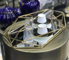 Gür Metal Aynalı Altıgen Prizma Tepsi - Gold resmi