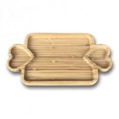 KRD Küçük Kalpli Bambu Sunum Tabağı - KRD-409