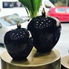 Dekoratif Büyük Boy Siyah Vazo  resmi