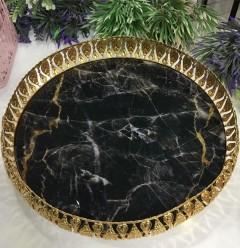 Siyah Mermer Desenli Yuvarlak Tepsi resmi