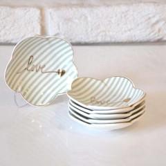 Arox 6'lı, Çizgili, Altın Love Yazılı, Porselen Çay Tabağı - Yeşil resmi
